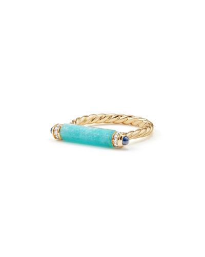 Barrels 18K Amazonite Ring with Diamonds & Sapphires, Size 7