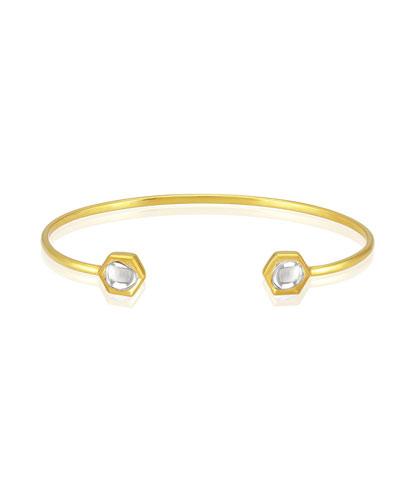 Kundan Open Diamond Hexagon Cuff Bracelet