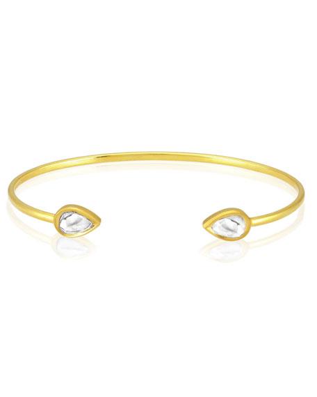 Kundan Open Diamond Teardrop Cuff Bracelet