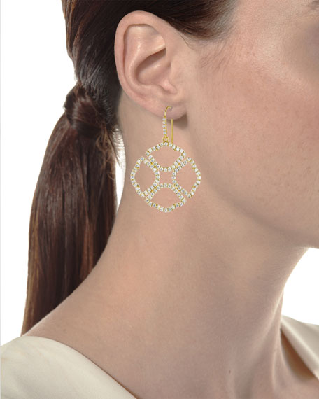 Lotus Clover Silhouette Drop Earrings with Diamonds