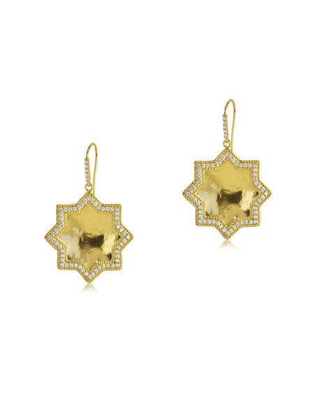 Star Drop Earrings with Diamonds