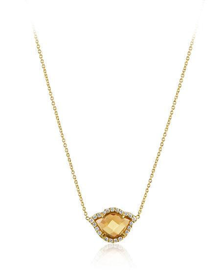 Nalika Citrine Lotus Necklace with Diamonds
