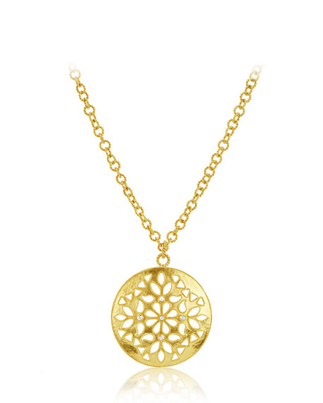 Large Shevanti Disc Pendant Necklace with Diamonds, 32""
