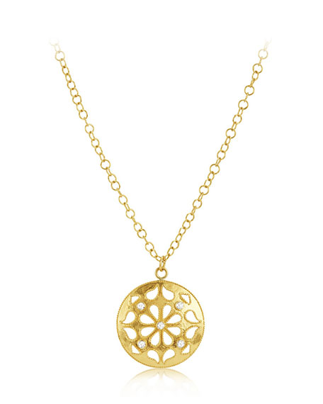 Medium Shevanti Disc Pendant Necklace with Diamonds