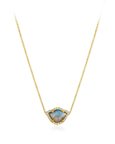 Nalika Labradorite Lotus Necklace with Diamonds