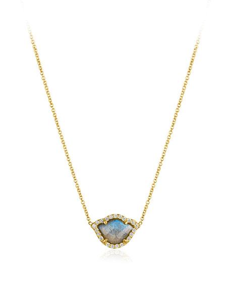 Nalika Labradorite Lotus Necklace with Diamonds
