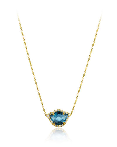 Nalika London Blue Topaz Lotus Necklace with Diamonds