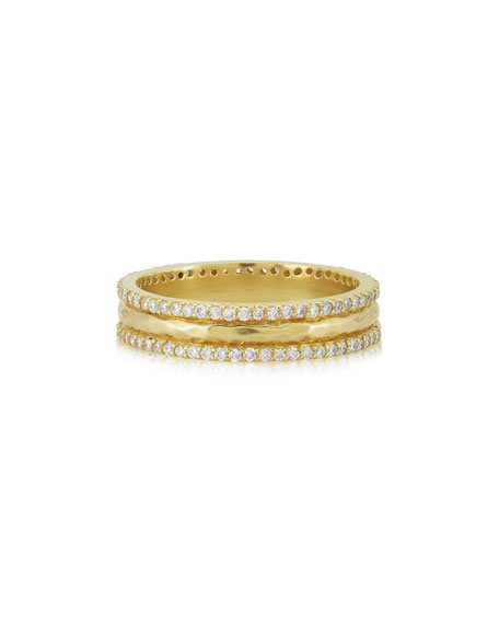 Small Chandni Hammered Band Ring with Diamonds
