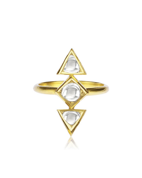 Kundan Diamond Triangle Ring