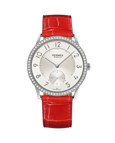 39.5mm Slim d'Hermès Watch with Diamonds & Alligator Strap, Red