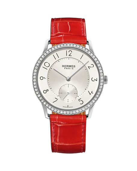 39.5mm Slim d'Hermes Watch with Diamonds & Alligator Strap, Red