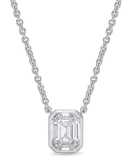 Memoire Emerald-Shaped Diamond Baguette Pendant Necklace