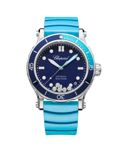 40mm Happy Ocean Sport Medium Watch with Diamonds  Blue/Turquoise