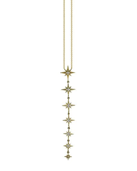 Sydney Evan Linear Pave Diamond Starburst Pendant Necklace