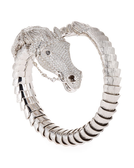 18k Diamond Pave Horse Bangle, White Gold
