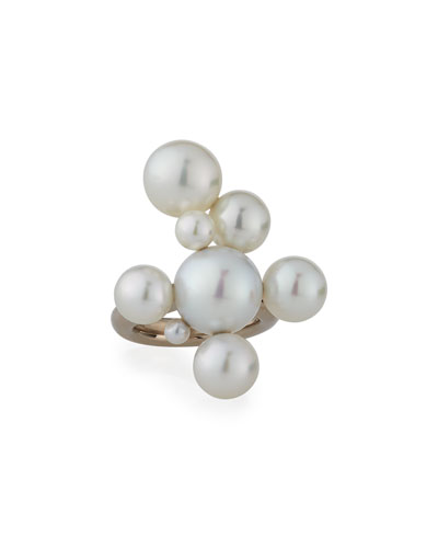 Bubbles South Sea and Akoya Pearl Cluster Ring