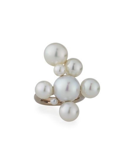 Assael Bubbles South Sea and Akoya Pearl Cluster Bangle Bracelet, Size 5.5