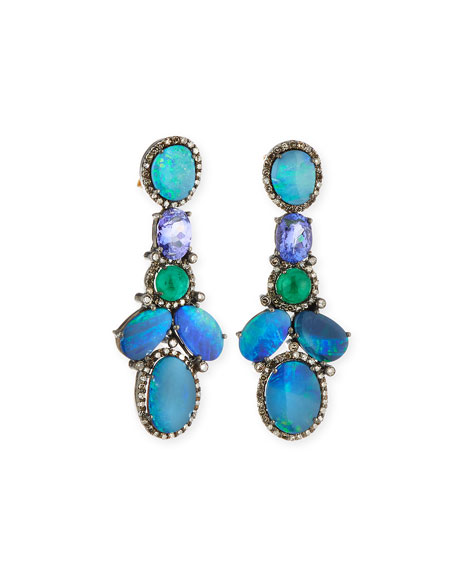 Emerald Cluster & Diamond Earrings