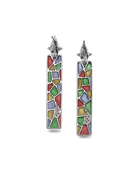 COOMI Sagrada Familia Engraved Stick Earrings with Diamonds