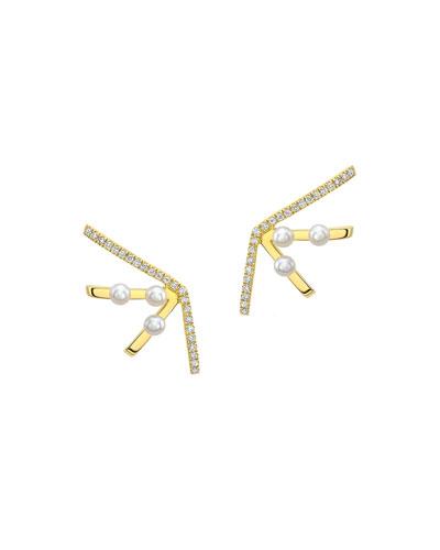 Diamond & Pearl Fan Statement Earrings