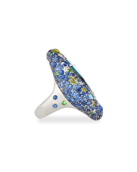 Margot McKinney Jewelry Opal Ring with Diamonds & Sapphires in 18K White Gold, Size 6.5
