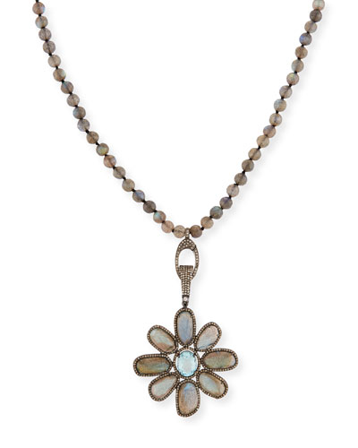 Labradorite & Aquamarine Flower Necklace with Diamonds