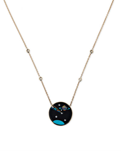 Galaxy Cancer Zodiac Opal Pendant Necklace with Diamonds