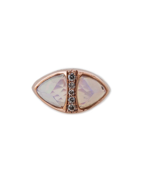 Mini Opal Triangle Pyramid Ring with Diamonds
