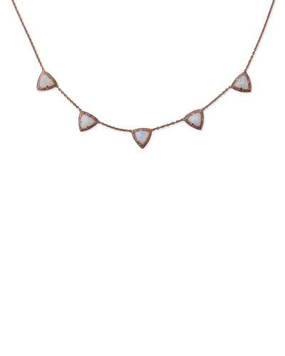 Moonstone & Diamond Triangle Necklace