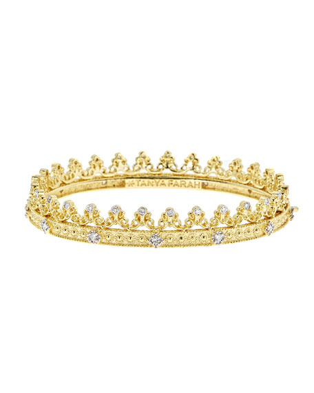 Royal Couture 18K Gold Scroll Crown Bangle with Diamonds, 0.75tdcw