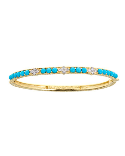 18K Modern Etruscan Turquoise & Diamond Cluster Bangle