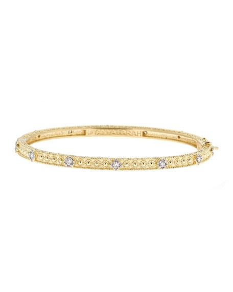 Modern Etruscan Granulated Diamond Bangle Bracelet