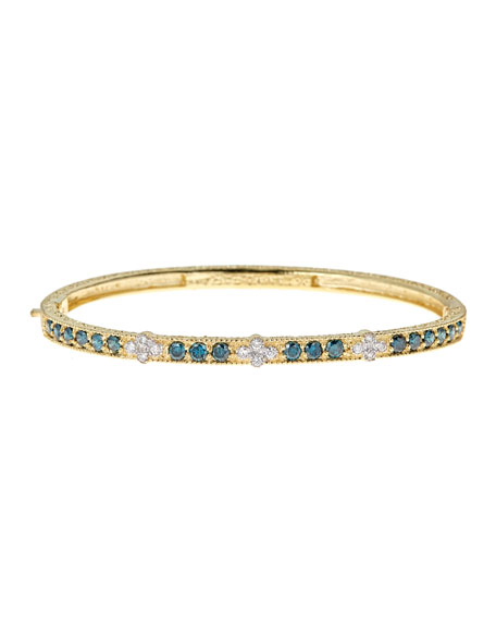 Modern Etruscan Blue & White Diamond Bangle Bracelet