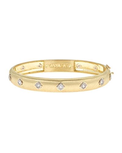 Wide Modern Etruscan Diamond Bezel Bangle Bracelet