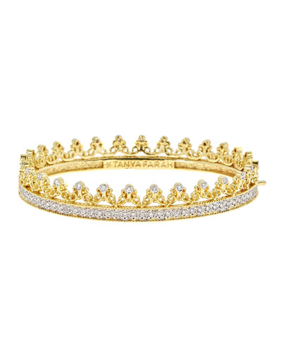 Royal Couture 18K Gold Scroll Crown Bangle with Diamonds  2.7tdcw