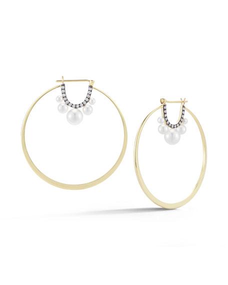 Jemma Wynne Prive Pearl & Diamond Hoop Earrings