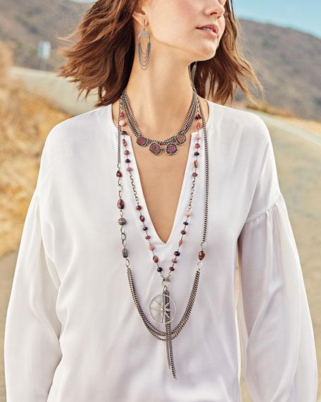 "Tourmaline Curb-Chain Draped Necklace, 40"""