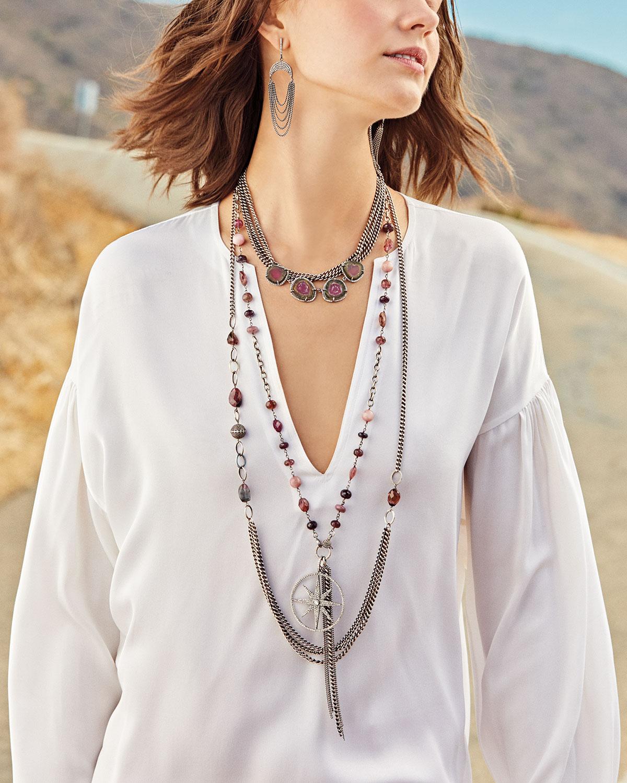 Sheryl Lowe Tourmaline Curb-Chain Draped Necklace, 40