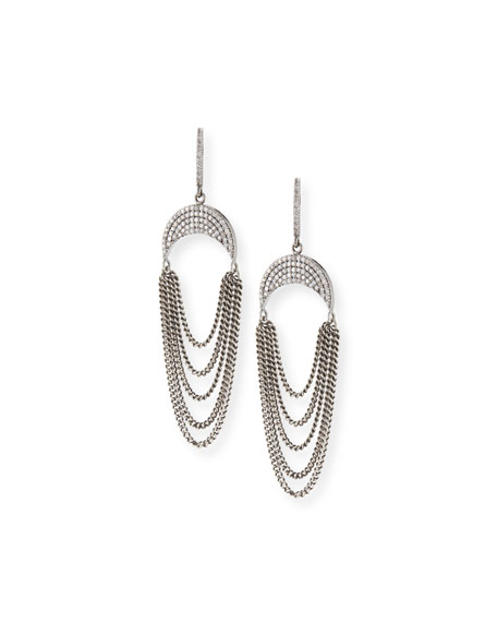 Sheryl Lowe Upside-Down Diamond Pave Crescent Fringe Earrings