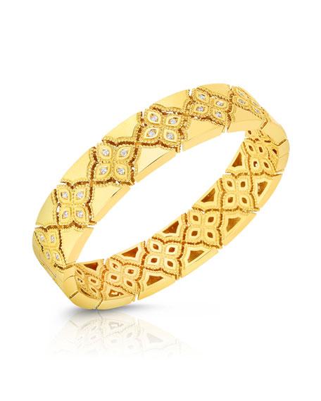 Roberto Coin 18k Gold Venetian Princess Wide Mother-of-Pearl & Diamond Bangle ivSF8L0l