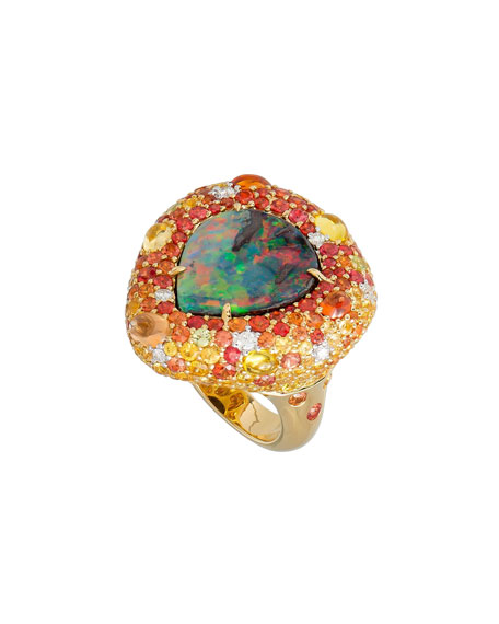 Margot McKinney Jewelry 18k Boulder Opal Pear Ring w/ Mixed Pave, Size 6.5