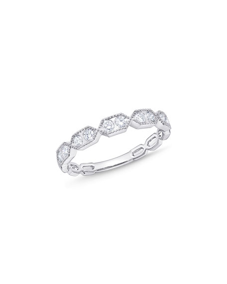 Memoire Stack 'Em Up Hexagon Diamond Duo Stacking Ring in 18K White Gold