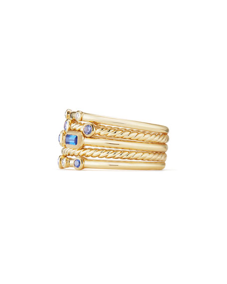 Novella 18k Multi-Stack Ring, Diamond/Sapphire, Size 6