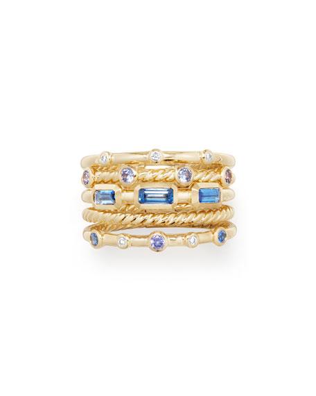 Novella 18k Multi-Stack Ring, Diamond/Sapphire, Size 8