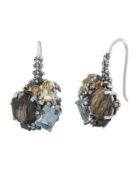 Stephen Dweck Mixed Cluster Silver Drop Earrings