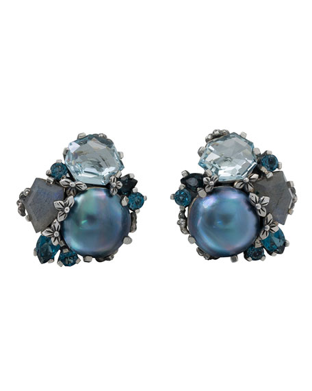 Stephen Dweck Cluster Pearl & Stone Silver Earrings, Blue