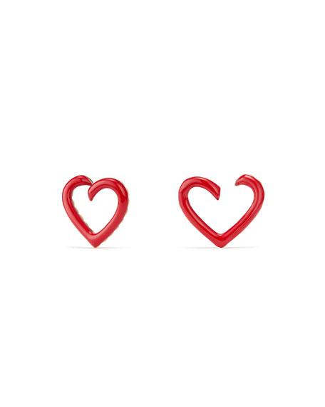18k Heart-Wrap Enamel Stud Earrings