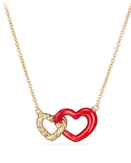 """18k Double-Heart Pendant Necklace, 18"""""""
