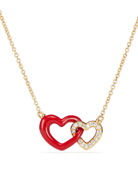 David Yurman 18k Double-Heart Pendant Necklace, 18