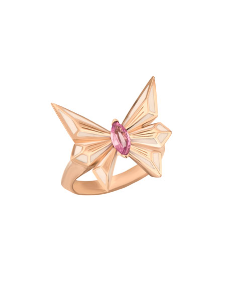 Stephen Webster FLY BY DECO DRIVE 18K PINK SAPPHIRE RING